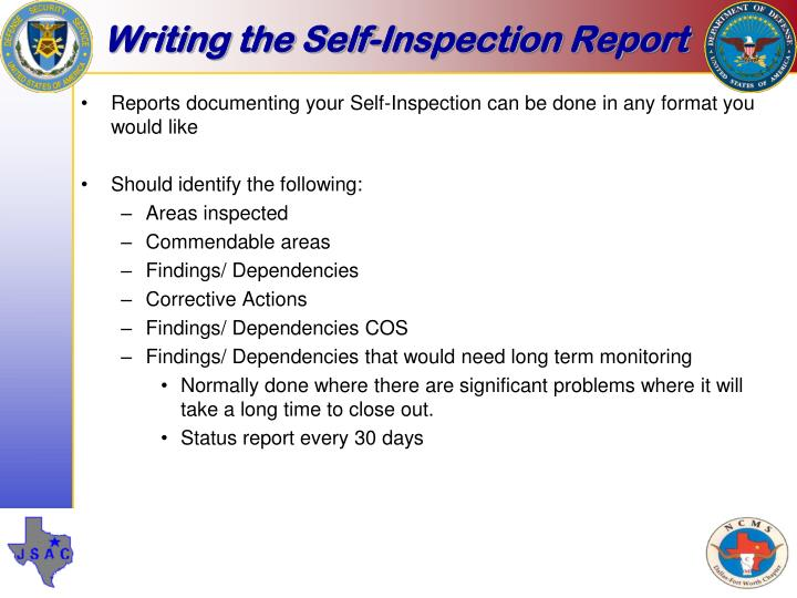 Writing the Self-Inspection Report