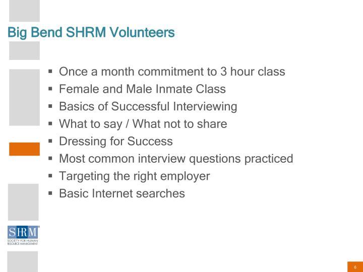 Big Bend SHRM Volunteers