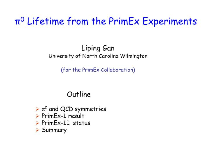 0 lifetime from the primex experiments
