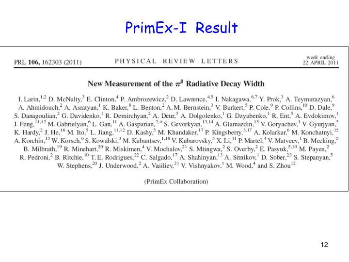 PrimEx-I  Result