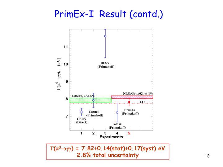 PrimEx-I  Result (contd.)
