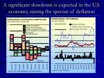 a significant slowdown is expected in the u s economy raising the specter of deflation