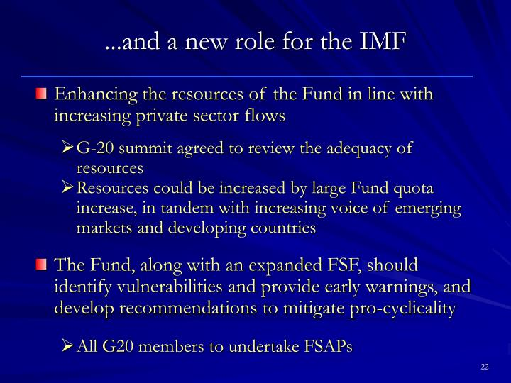 ...and a new role for the IMF