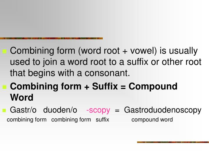Combining form (word root + vowel) is usually used to join a word root to a suffix or other root that begins with a consonant.
