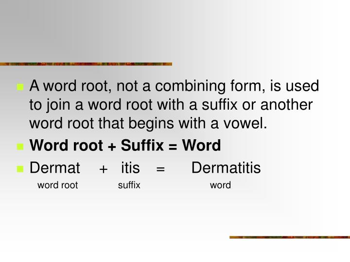 A word root, not a combining form, is used to join a word root with a suffix or another word root that begins with a vowel.