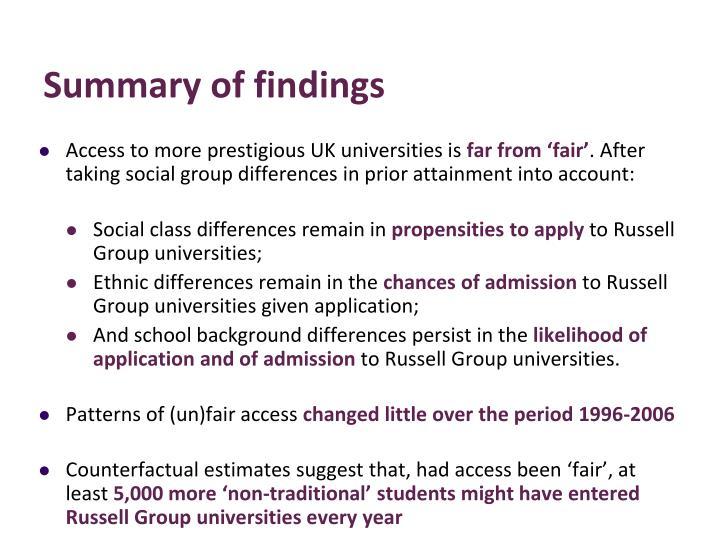 Access to more prestigious UK universities is
