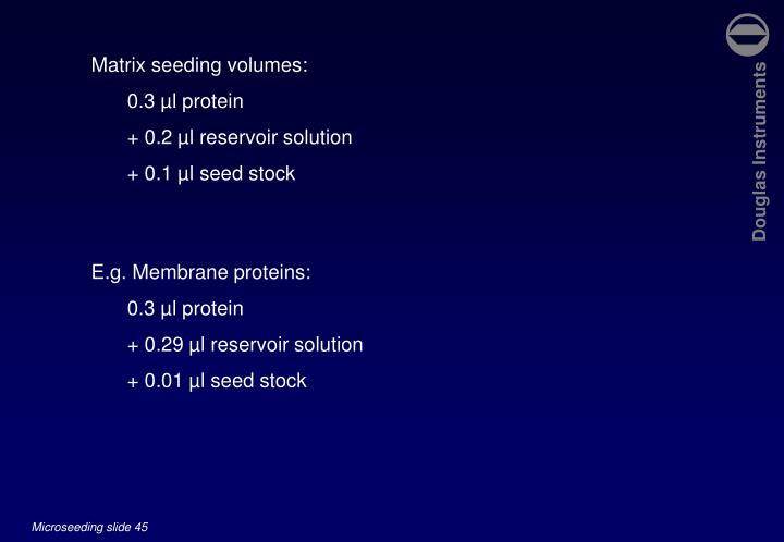 Matrix seeding volumes: