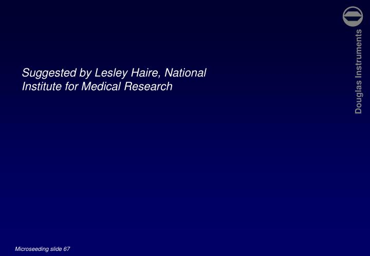 Suggested by Lesley Haire, National Institute for Medical Research
