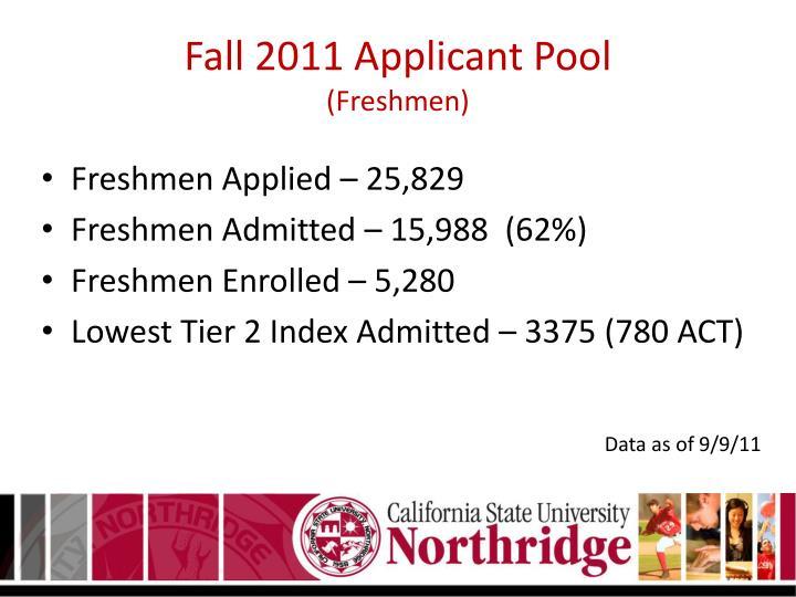 Fall 2011 Applicant Pool