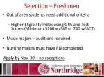 selection freshmen