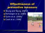 effectiveness of preventive measure