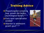 training advice