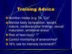 training advice2