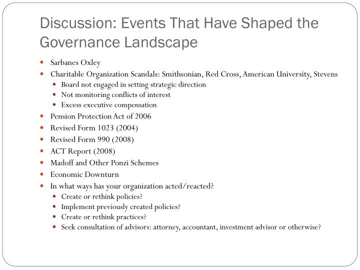 Discussion: Events That Have Shaped the Governance Landscape