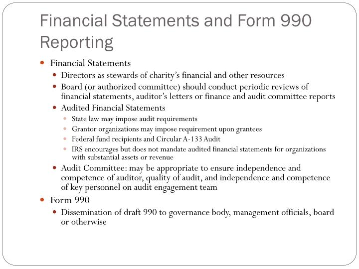 Financial Statements and Form 990 Reporting