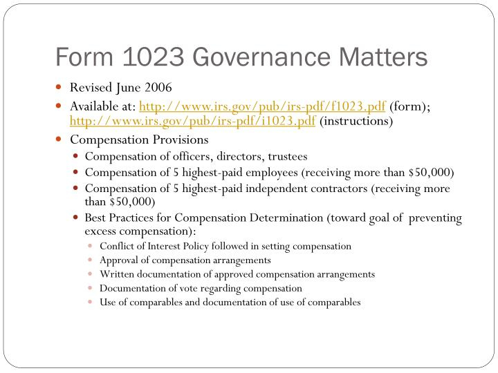Form 1023 Governance Matters