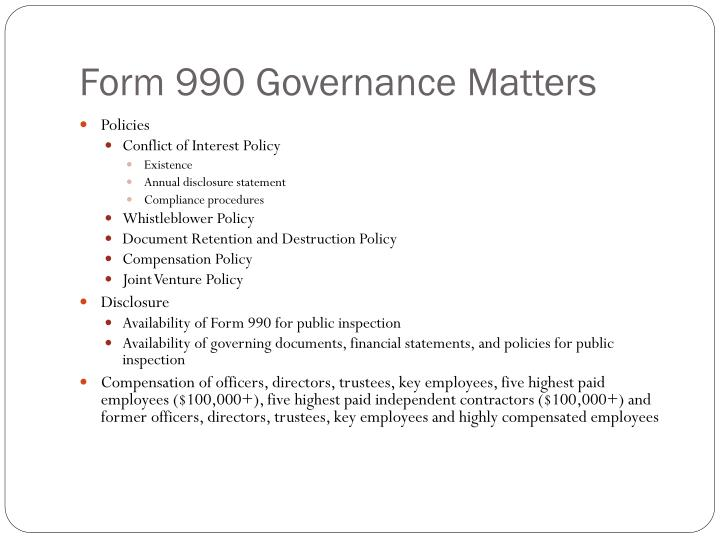 Form 990 Governance Matters
