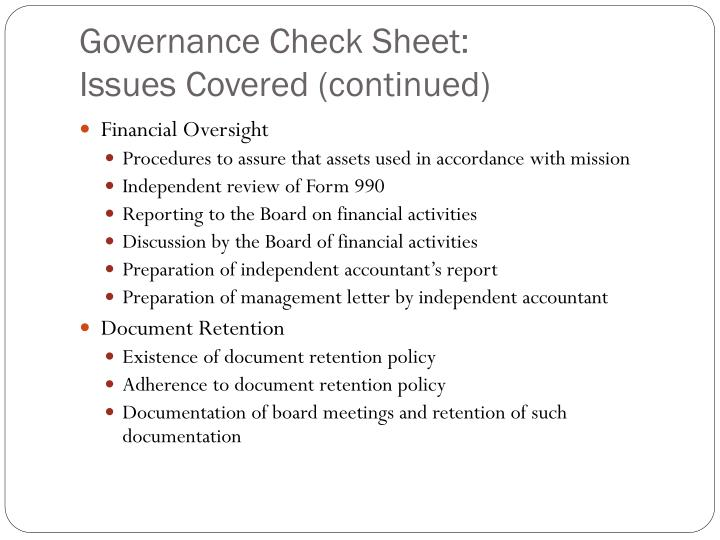 Governance Check Sheet: