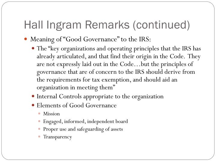 Hall Ingram Remarks (continued)