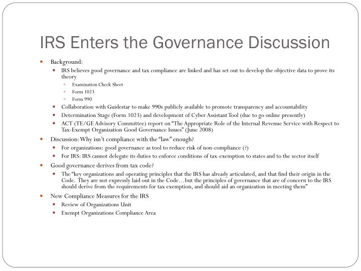 IRS Enters the Governance Discussion