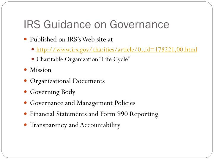 IRS Guidance on Governance