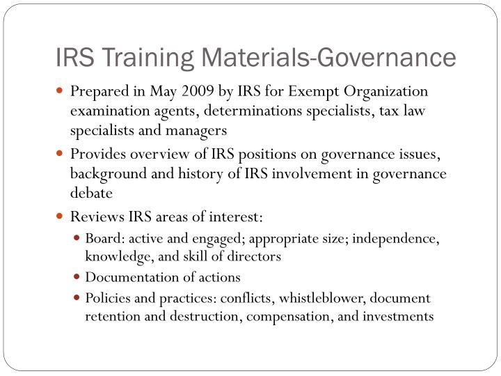 IRS Training Materials-Governance