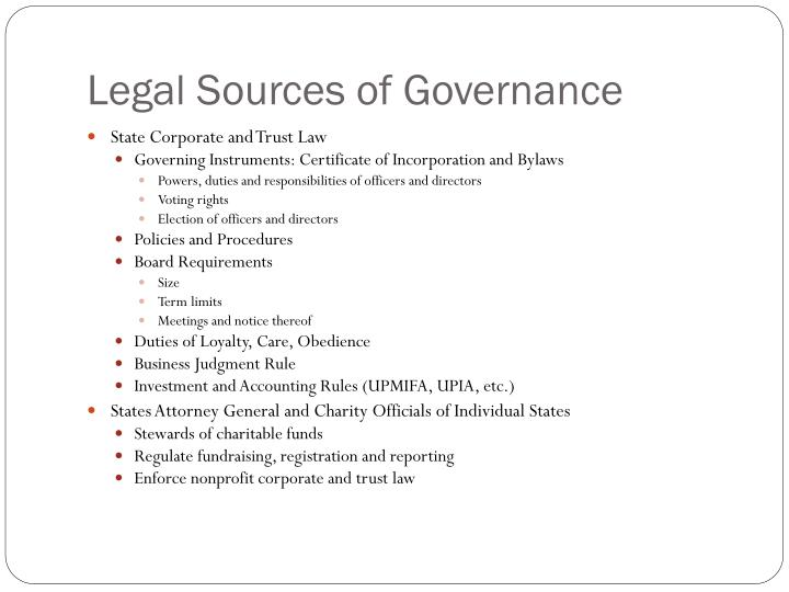 Legal Sources of Governance