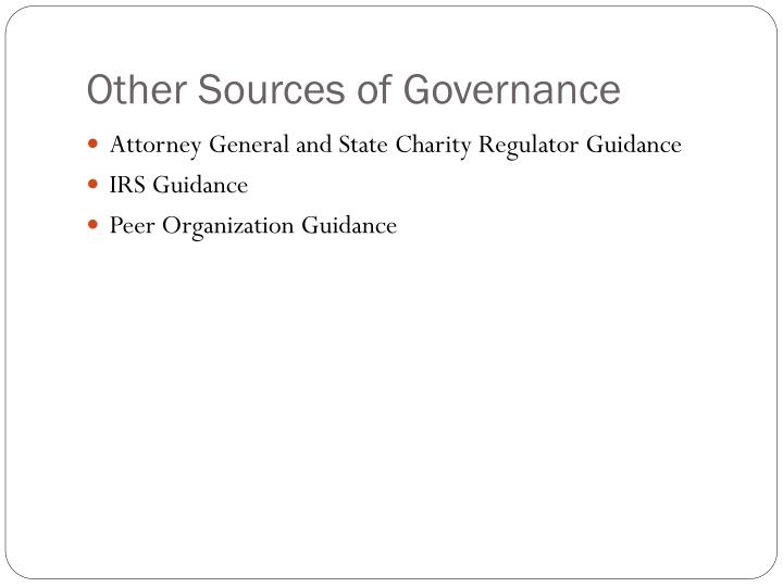 Other Sources of Governance