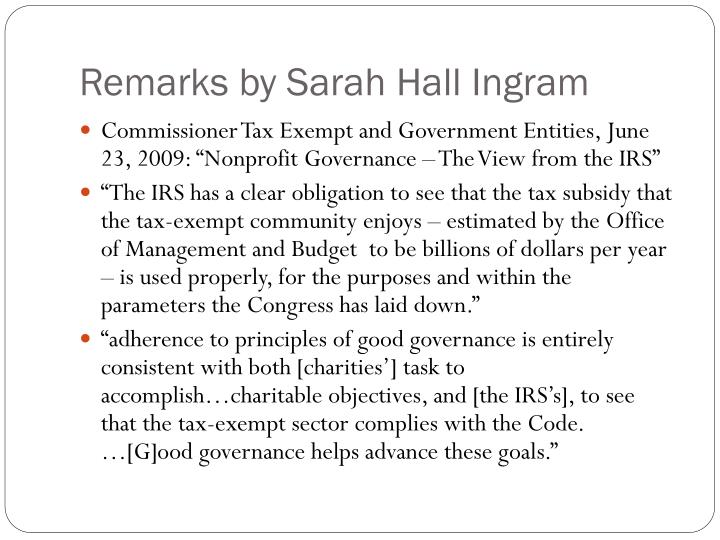 Remarks by Sarah Hall Ingram