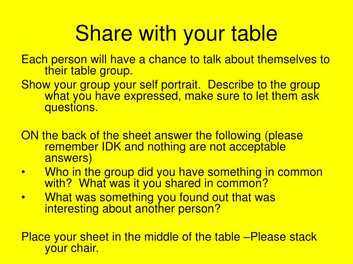 Share with your table
