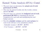 earned value analysis eva contd