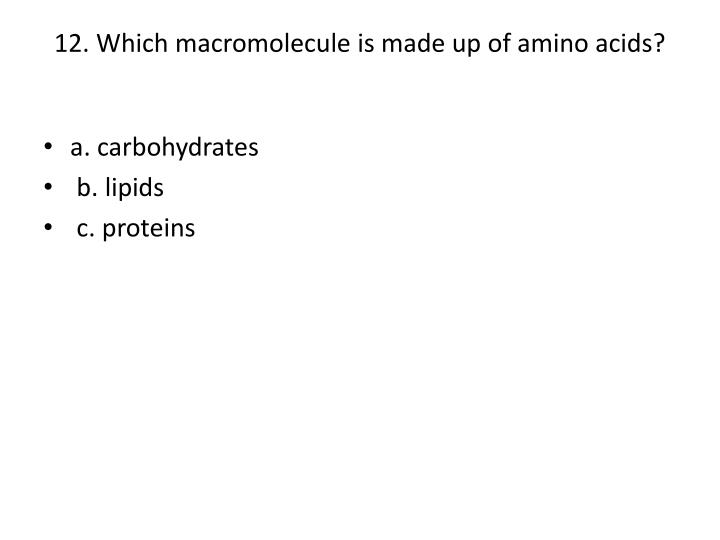 12. Which macromolecule is made up of amino acids?