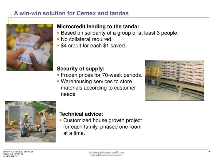 A win-win solution for Cemex and tandas