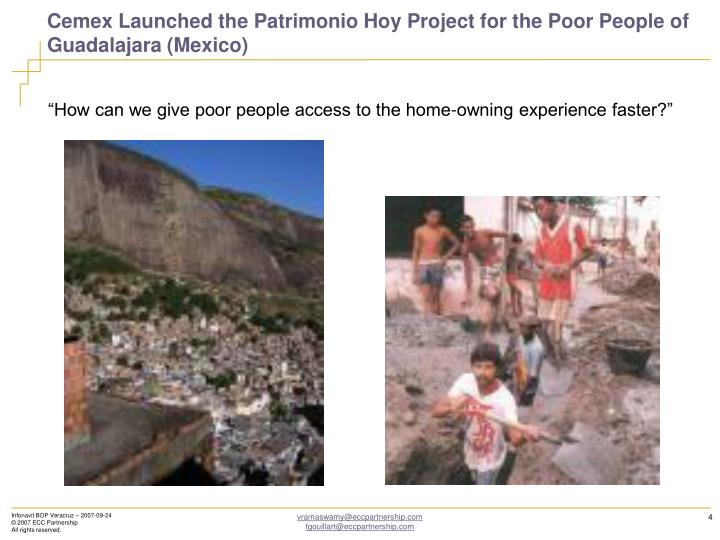 Cemex Launched the Patrimonio Hoy Project for the Poor People of Guadalajara (Mexico)