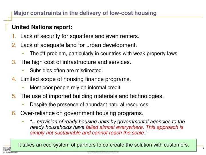 Major constraints in the delivery of low-cost housing