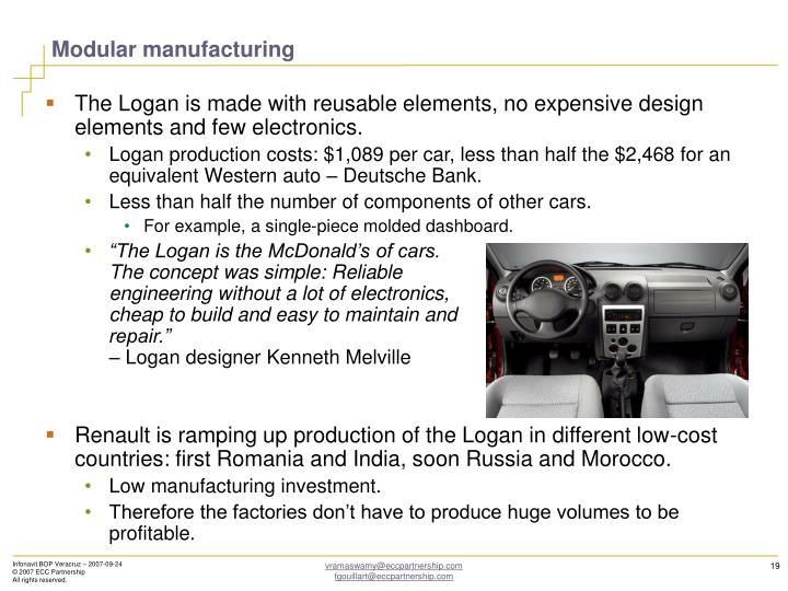 Modular manufacturing