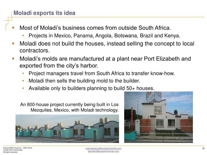 Moladi exports its idea