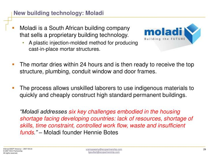 New building technology: Moladi