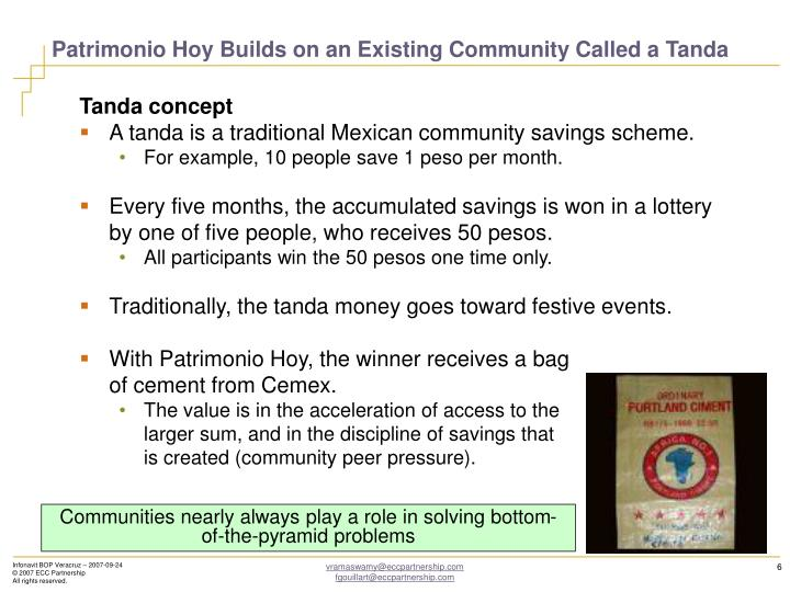 Patrimonio Hoy Builds on an Existing Community Called a Tanda