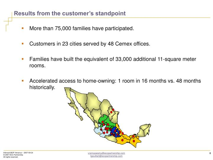 Results from the customer's standpoint