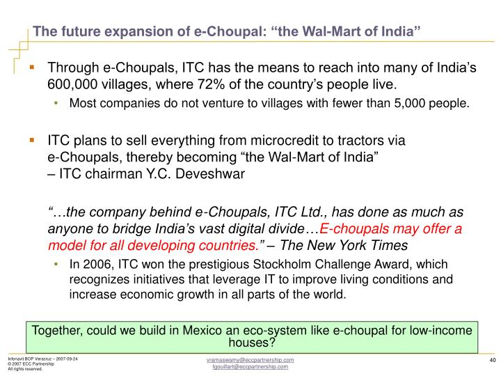 """The future expansion of e-Choupal: """"the Wal-Mart of India"""""""