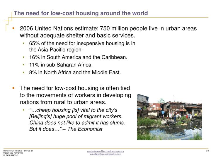 The need for low-cost housing around the world