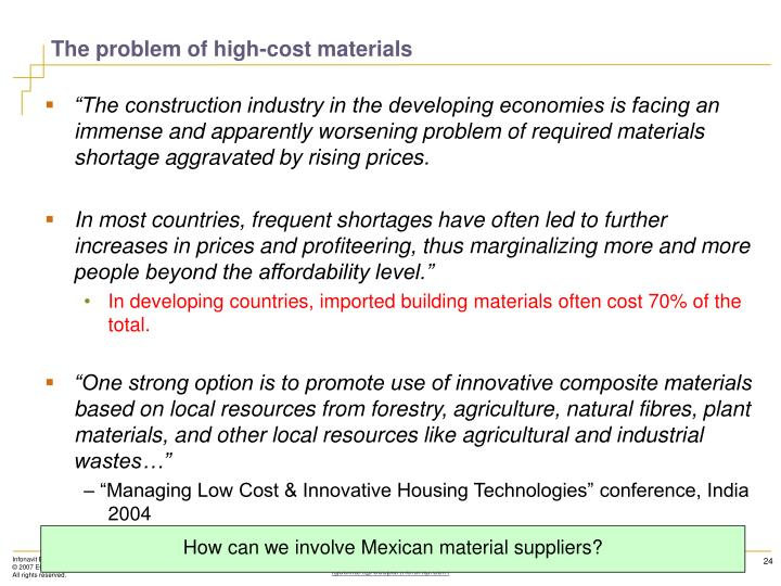 The problem of high-cost materials