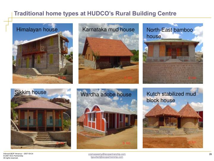 Traditional home types at HUDCO's Rural Building Centre