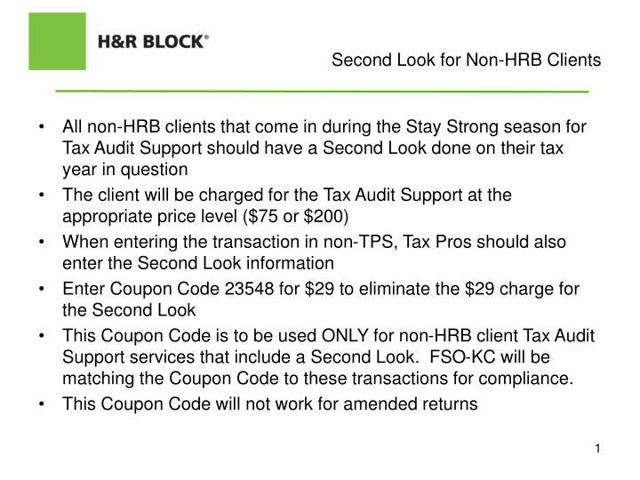 Second Look for Non-HRB Clients