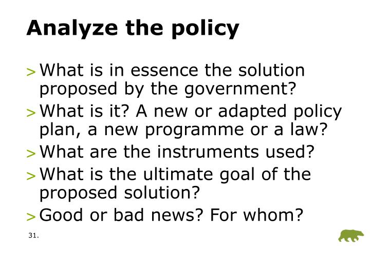 Analyze the policy