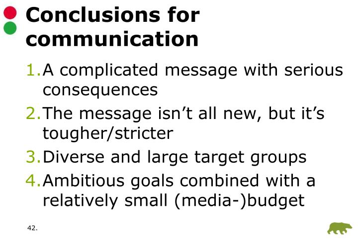 Conclusions for communication