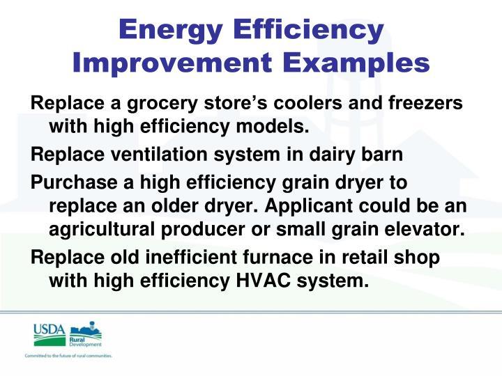 Energy Efficiency Improvement Examples