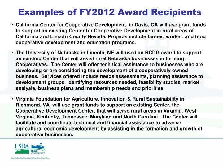 Examples of FY2012 Award Recipients