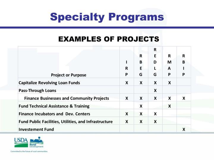 Specialty Programs